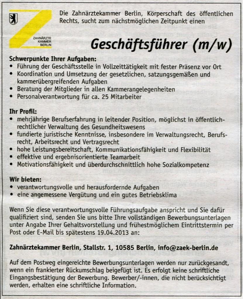 Stellenangebot Zäk Berlin Sucht Geschäftsführerin Iuzb